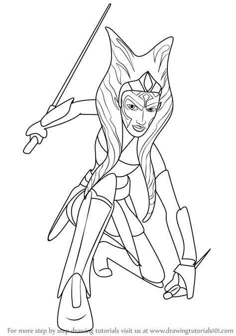 coloring pages ashoka step by step how to draw ahsoka tano from wars