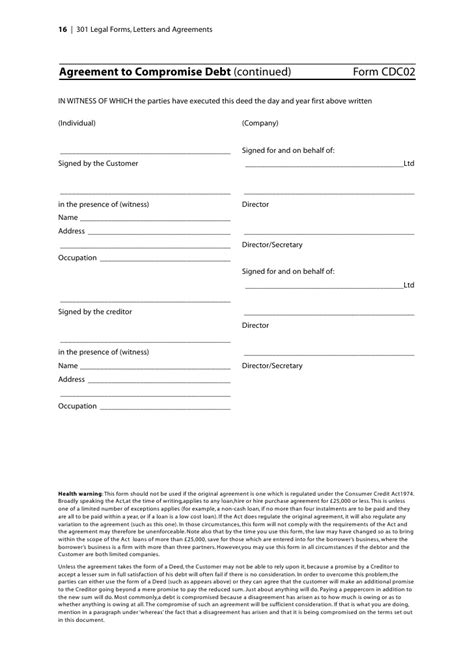 Compromise Agreement Letter Exle 301 Forms Letters And Agreements Sle Chapter