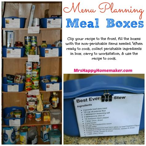 Pantry Meal Planner by Menu Planner Organizing Boxes Mrs Happy Homemaker