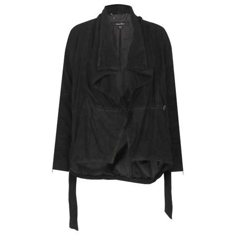 leather drape jacket lejona leather drape jacket in black