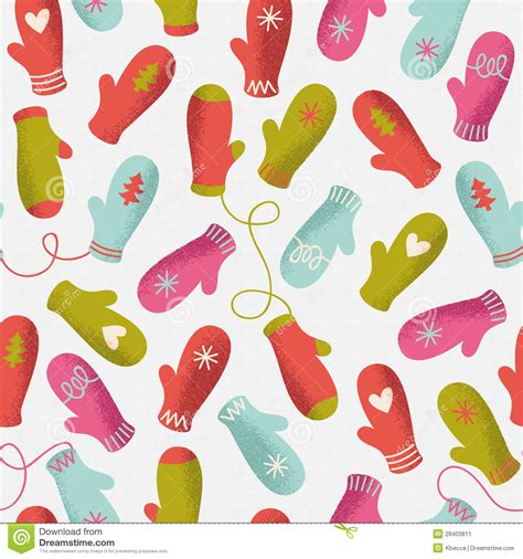 seamless mitten pattern winter mittens seamless vector pattern stock image image