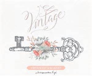 vintage key with floral bouquet clipart wedding invitation clip graphics commercial use