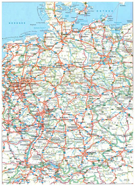 large printable road maps large detailed road map of germany with all cities