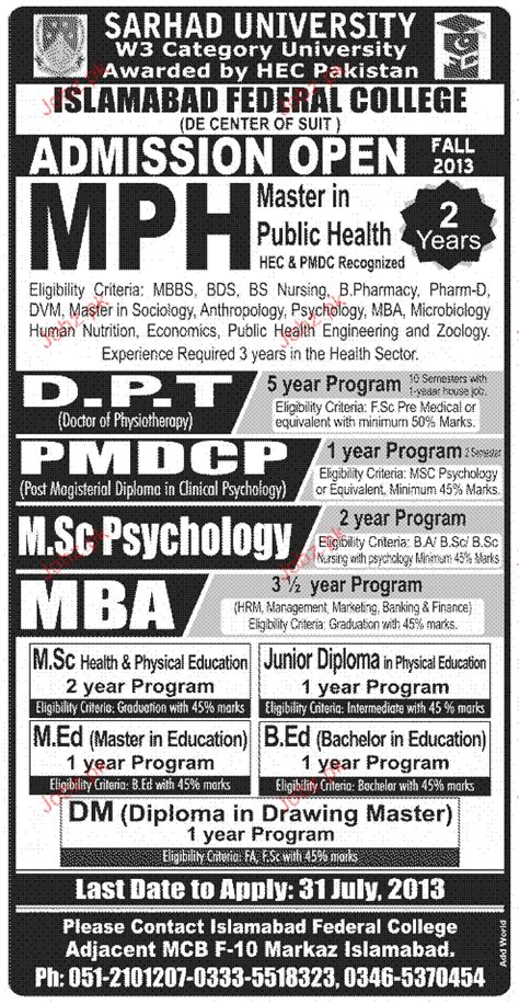 Mba Admission In Islamabad by Admission In Mph Dpt Pmdcp In Sarhad 2018
