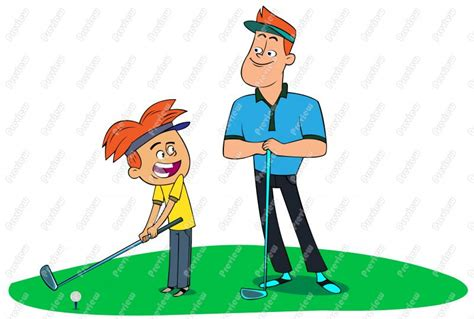 father and son cartoon golf cute clipart clipart suggest