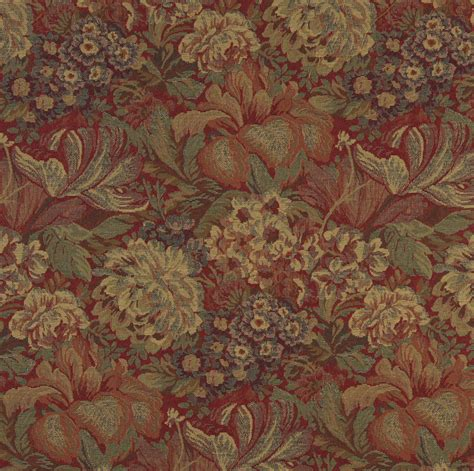 Tapestry Fabric Beige And Burgundy Floral Garden Tapestry