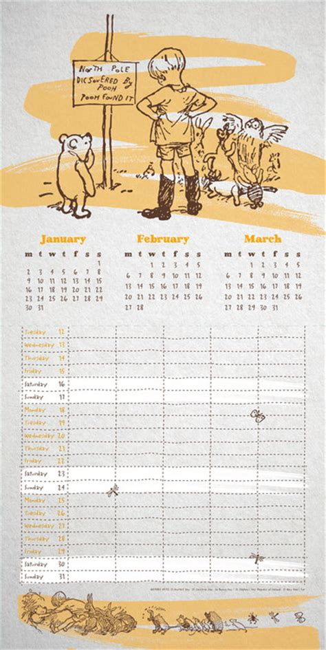 2018 winnie the pooh wall calendar day winnie the pooh organiser calendars 2018 on abposters