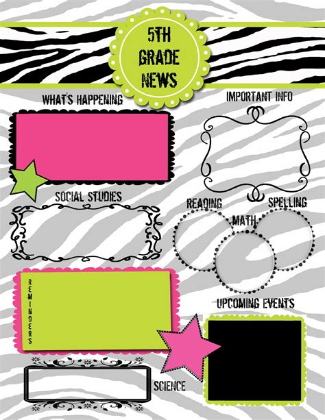 5th grade newsletter template krazy 4 writing