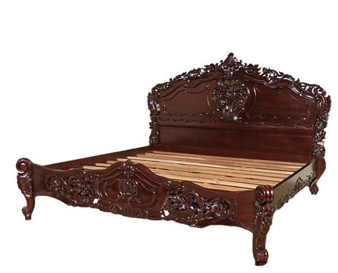victorian bed solid mahogany chocolate french rococo style carved panel
