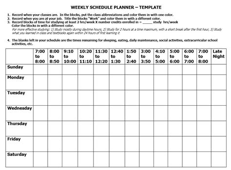 11 Free Sle Class Schedule Templates Printable Sles C Template Class
