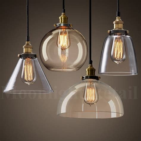 Vintage Kitchen Pendant Lights New Modern Vintage Industrial Retro Loft Glass Ceiling L Shade Pendant Light Ebay