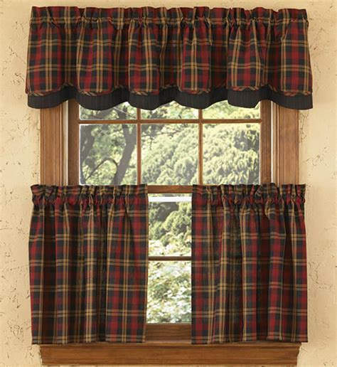 Plaid Curtains And Drapes Hanover Lined Layered Curtain Valance
