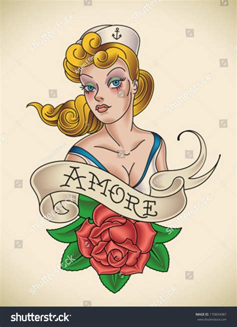 oldschool navy tattoo pinup lady red stock vector