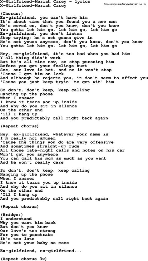 song for gf song lyrics for x carey