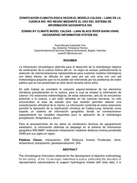 ZONIFICACION CLIMA CALDAS - LANG RIO NEGRO.pdf | Clima