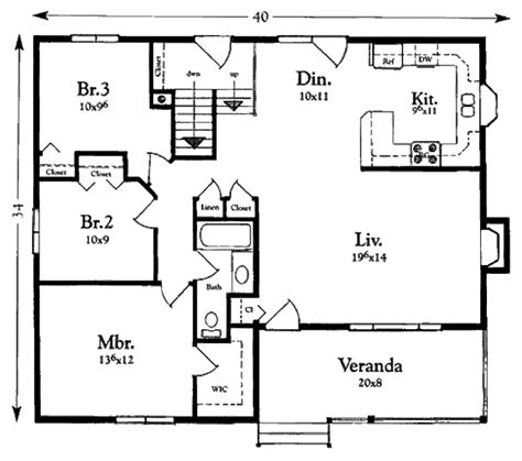 Cottage Style House Plan 3 Beds 1 00 Baths 1200 Sq Ft House Floor Plans For 1200 Square