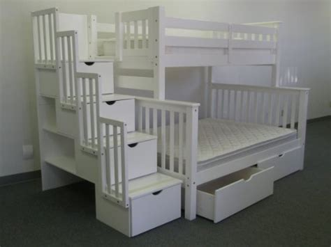 bedz king twin over full stairway bunk bed with 2 under