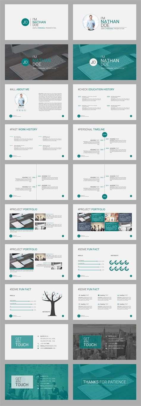 Jd Personal Powerpoint Presentation Template Free On Behance Personal Branding Powerpoint Template