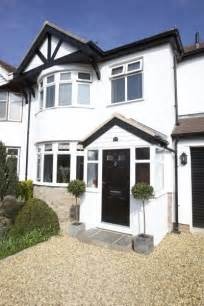house front design ideas uk entrance porch on semi detached house with round bay