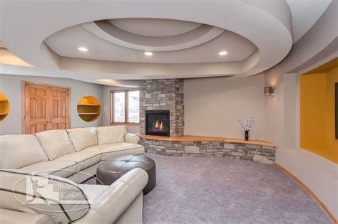 Curved Ceiling Design Basement Curved Ceiling Fireplace Contemporary