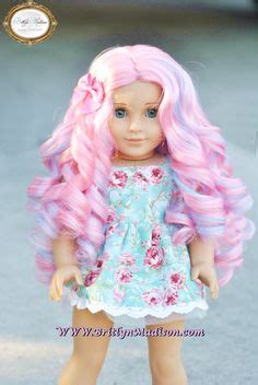Candydoll Wig Blue Pink cotton curls pink mint blue custom doll wig for american and other 18 inch dolls
