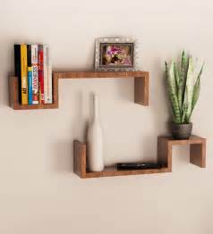 wooden wall shelving mango wood set of 2 wall shelves by home sparkle
