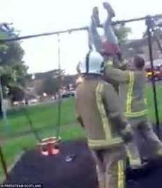 people falling off swings firefighters rescue a teenager stuck in a baby swing 191 by