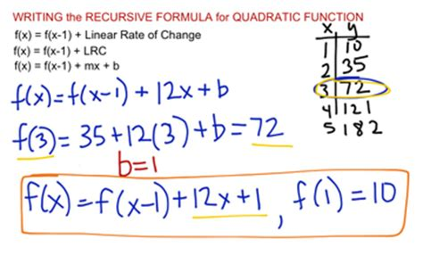 recursive pattern finder quadratic recursive formula educreations