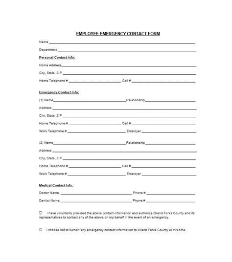 54 Free Emergency Contact Forms Employee Student Staff Emergency Contact Form Template