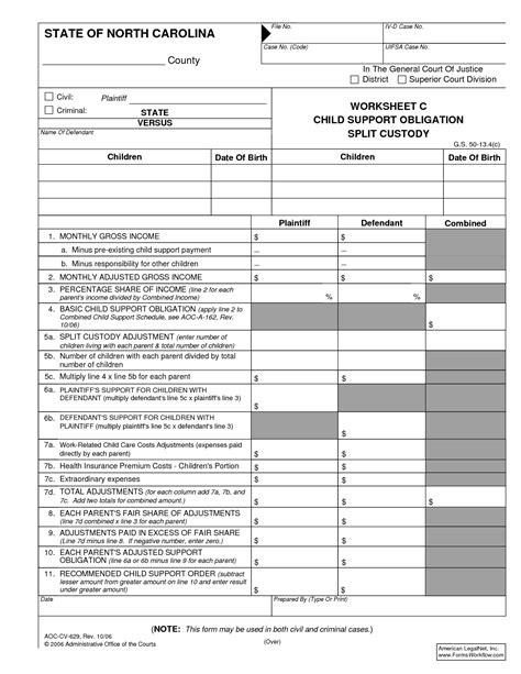 Carolina Child Support Worksheet B by 28 Nc Child Support Worksheet Carolina Child