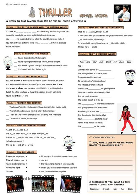 english worksheets michael jackson 78 best images about reading and comprehension on pinterest