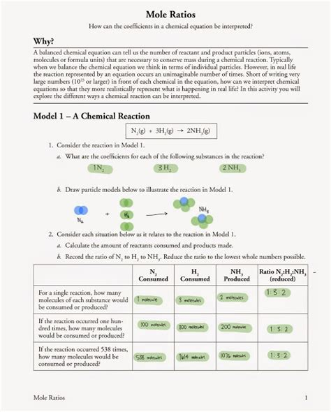 Mole Ratio Worksheet by Mole Ratio Worksheet Chemistry Answers Free Worksheets
