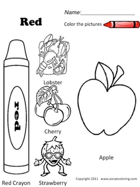 color red coloring worksheet sketch coloring page