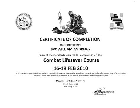 combat lifesaver certificate template william