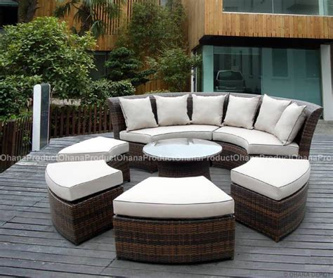 round patio couch outdoor patio wicker furniture 7pc round couch set ebay
