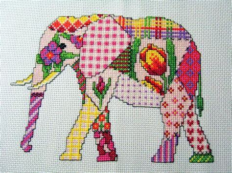 Patchwork Stitches - patchwork elephant cross stitch pattern by michaelalearner