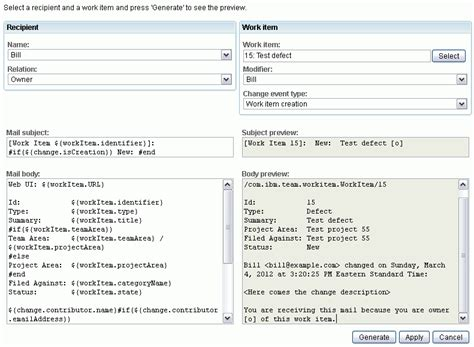 test policy template customizing email notifications in the ibm rational team