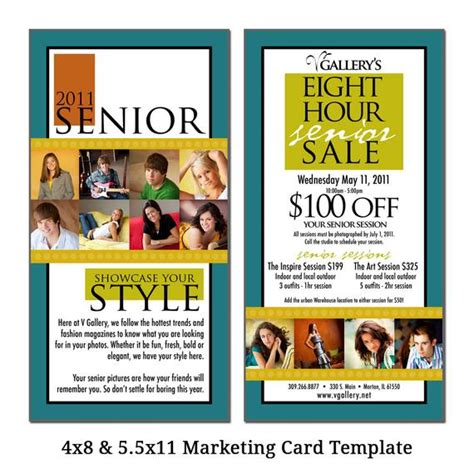 4x8 5 5x11 Marketing Card Template Senior Sale Digital 4x8 Card Templates