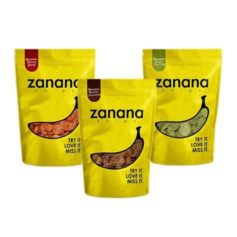 desain kemasan zanana erju zanana chips keripik pisang dengan 5 variant rasa