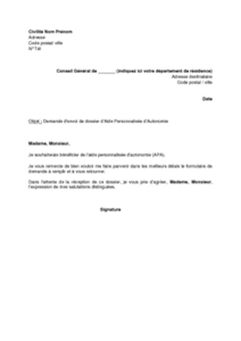 Exemple De Lettre De Demande De Document Gratuit Lettre De Demande D Envoi De Dossier D Allocation Personnalis 233 E D Autonomie Apa Mod 232 Le De