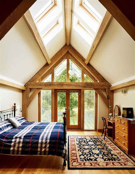 vaulted ceiling bedroom oak framing www borderoak com rooflights in the vaulted ceiling and a glazed gable end