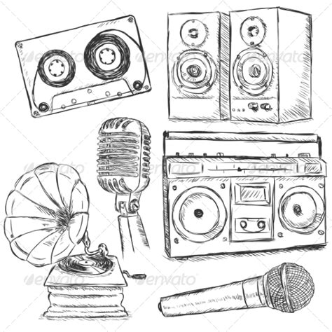 sketchbook radio vector set of sketch object by nikiteev graphicriver