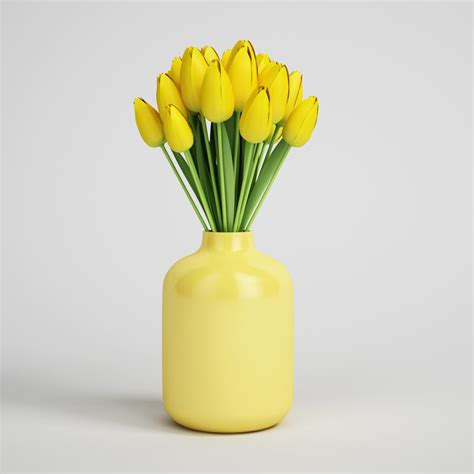Tulips Vase by Yellow Tulips In Vase 12 3d Model Max Obj Fbx C4d