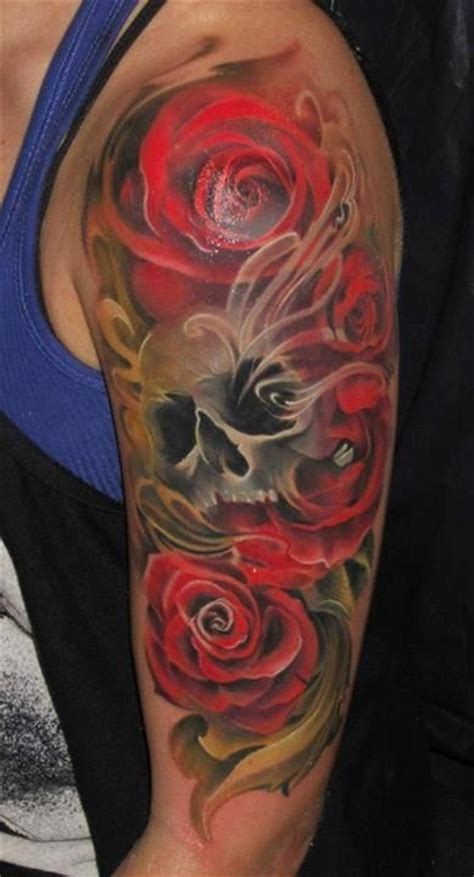 skulls and roses tattoo sleeve it skull flower tattoos