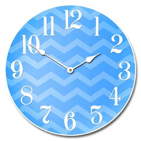 Blus Clok 01 chevron blue clock the big clock store