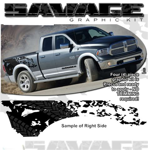 dodge ram truck savage body side graphics kit 1 2009 2018