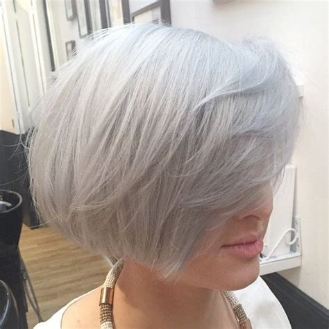 gray hair layered bob 40 hair сolor ideas with white and platinum blonde hair