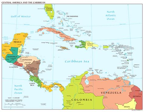 central america the caribbean map large scale political map of central america and the
