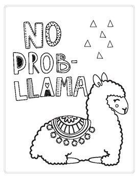 no prob llama printable/coloring page by falalalearning | tpt