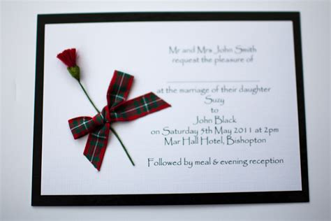 wedding invitations perth scotland black macgregor tartan thistle wedding invitation